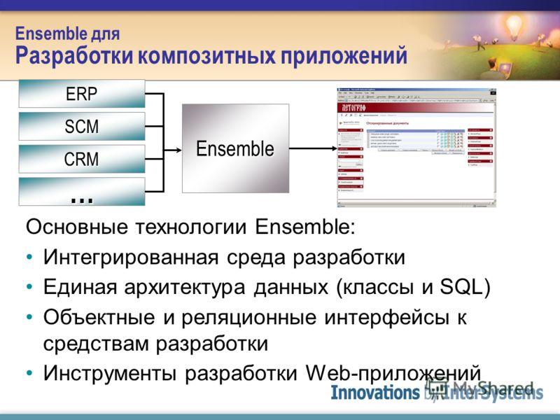 Ensemble для Разработки композитных приложений Основные технологии Ensemble: Интегрированная среда разработки Единая архитектура данных (классы и SQL) Объектные и реляционные интерфейсы к средствам разработки Инструменты разработки Web-приложений Ens