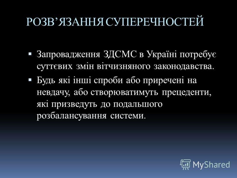 РОЗВЯЗАННЯ СУПЕРЕЧНОСТЕЙ Запровадження ЗДСМС в Україні потребує суттєвих змін вітчизняного законодавства. Будь які інші спроби або приречені на невдачу, або створюватимуть прецеденти, які призведуть до подальшого розбалансування системи.