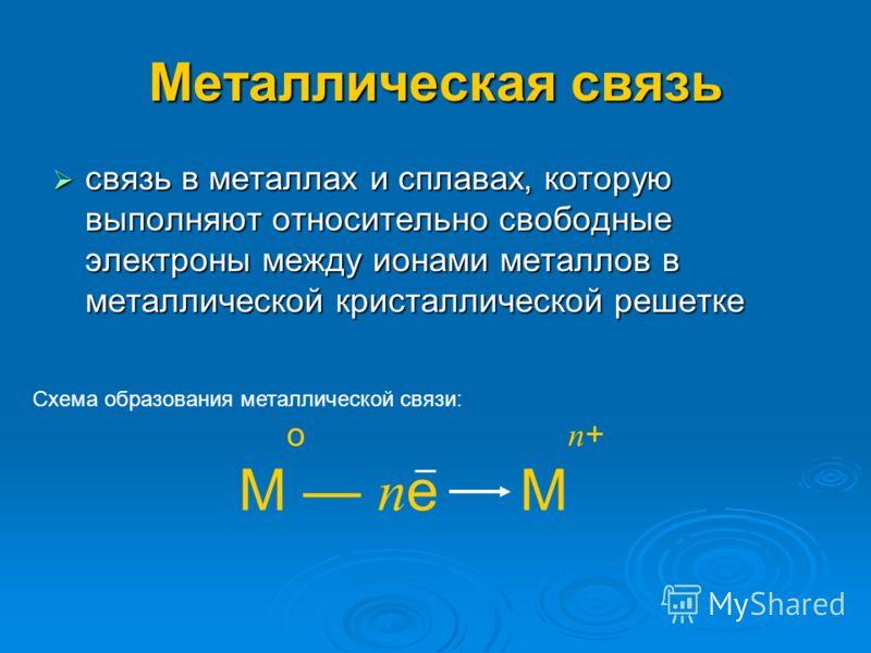 Металлическая связь связь в металлах и сплавах, которую выполняют относительно свободные электроны между ионами металлов в металлической кристаллической решетке о п + М п е М Схема образования металлической связи: