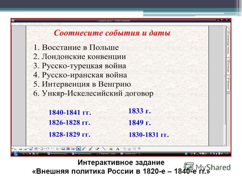 Интерактивное задание «Внешняя политика России в 1820-е – 1840-е гг.»