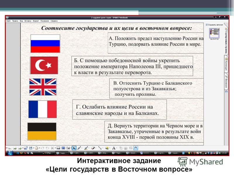 Интерактивное задание «Цели государств в Восточном вопросе»