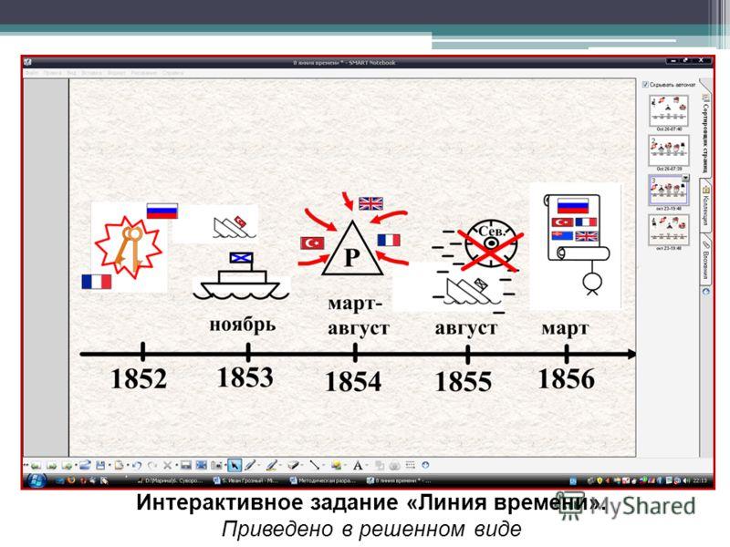 Интерактивное задание «Линия времени». Приведено в решенном виде