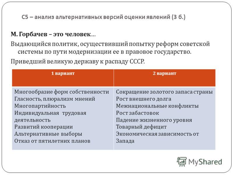 С 5 – анализ альтернативных версий оценки явлений (3 б.) М. Горбачев – это человек … Выдающийся политик, осуществивший попытку реформ советской системы по пути модернизации ее в правовое государство. Приведший великую державу к распаду СССР. 1 вариан