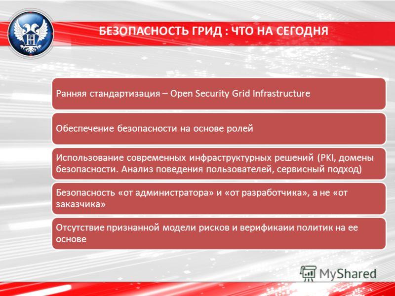 БЕЗОПАСНОСТЬ ГРИД : ЧТО НА СЕГОДНЯ Ранняя стандартизация – Open Security Grid InfrastructureОбеспечение безопасности на основе ролей Использование современных инфраструктурных решений (PKI, домены безопасности. Анализ поведения пользователей, сервисн