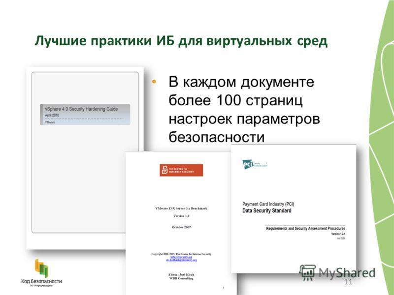 Лучшие практики ИБ для виртуальных сред В каждом документе более 100 страниц настроек параметров безопасности 11