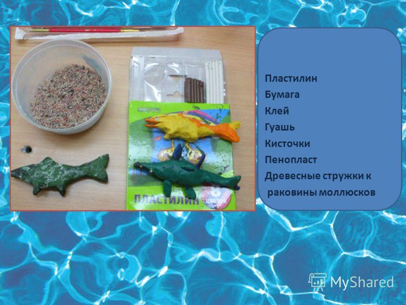 Материалы для изготовления макета Пластилин Бумага Клей Гуашь Кисточки Пенопласт Древесные стружки к раковины моллюсков