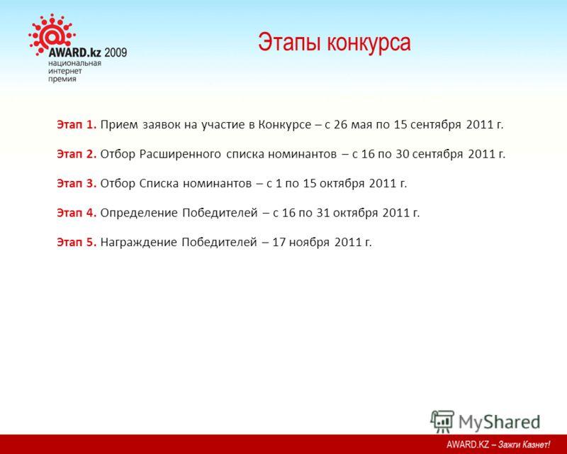 Этапы конкурса Этап 1. Прием заявок на участие в Конкурсе – с 26 мая по 15 сентября 2011 г. Этап 2. Отбор Расширенного списка номинантов – с 16 по 30 сентября 2011 г. Этап 3. Отбор Списка номинантов – с 1 по 15 октября 2011 г. Этап 4. Определение Поб