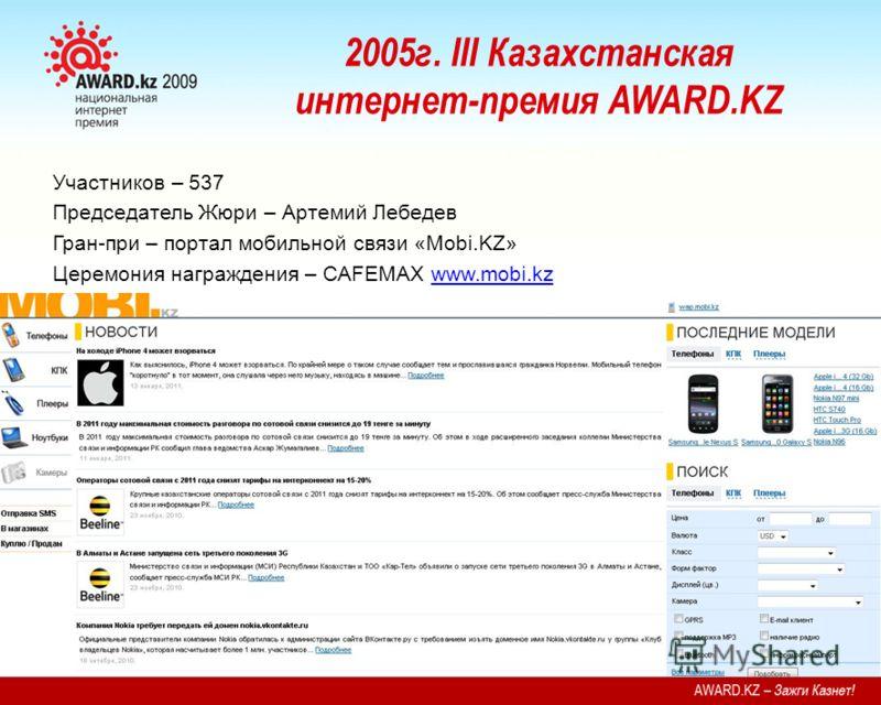2005г. III Казахстанская интернет-премия AWARD.KZ Участников – 537 Председатель Жюри – Артемий Лебедев Гран-при – портал мобильной связи «Mobi.KZ» Церемония награждения – CAFEMAX www.mobi.kzwww.mobi.kz