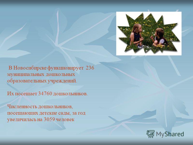 В Новосибирске функционирует 236 муниципальных дошкольных образовательных учреждений. Их посещает 34760 дошкольников. Численность дошкольников, посещающих детские сады, за год увеличилась на 3059 человек