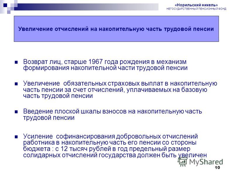 10 Пенсионная реформа в России Возврат лиц, старше 1967 года рождения в механизм формирования накопительной части трудовой пенсии Увеличение обязательных страховых выплат в накопительную часть пенсии за счет отчислений, уплачиваемых на базовую часть
