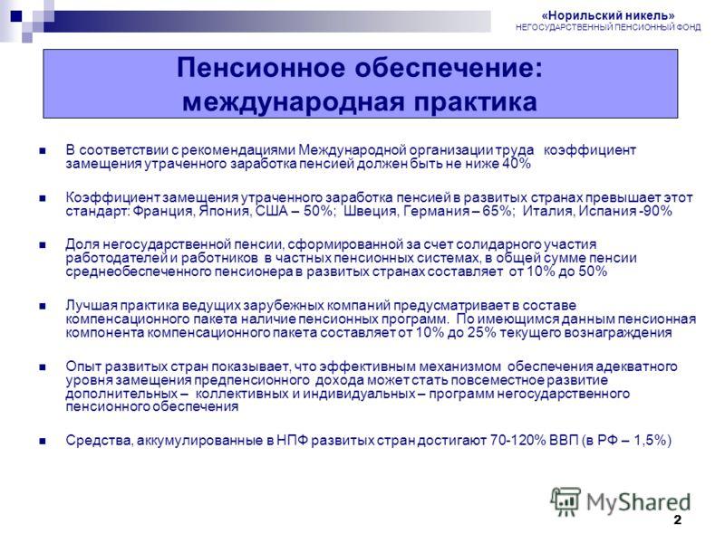 2 Пенсионная реформа в России В соответствии с рекомендациями Международной организации труда коэффициент замещения утраченного заработка пенсией должен быть не ниже 40% Коэффициент замещения утраченного заработка пенсией в развитых странах превышает