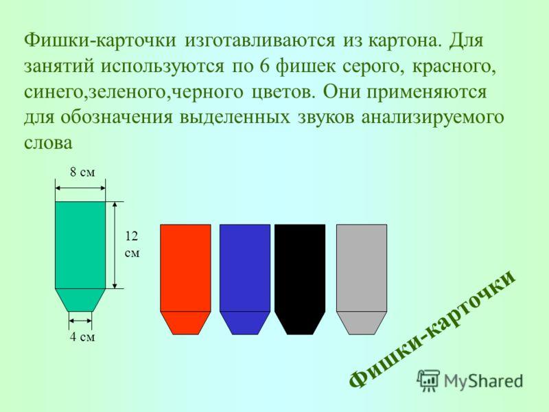8 см 12 см 4 см Фишки-карточки Фишки-карточки изготавливаются из картона. Для занятий используются по 6 фишек серого, красного, синего,зеленого,черного цветов. Они применяются для обозначения выделенных звуков анализируемого слова