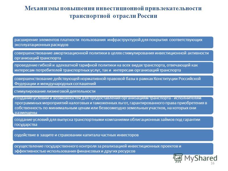 Механизмы повышения инвестиционной привлекательности транспортной отрасли России расширение элементов платности пользования инфраструктурой для покрытия соответствующих эксплуатационных расходов совершенствование амортизационной политики в целях стим