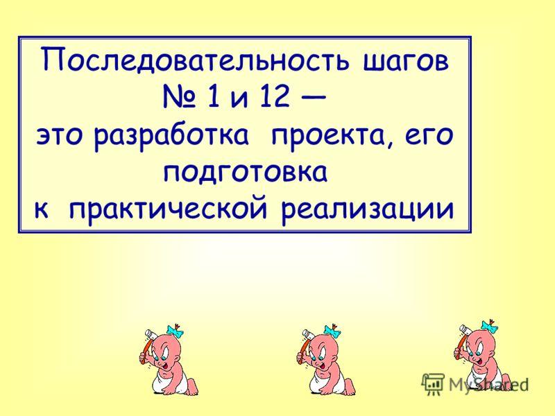 Последовательность шагов 1 и 12 это разработка проекта, его подготовка к практической реализации
