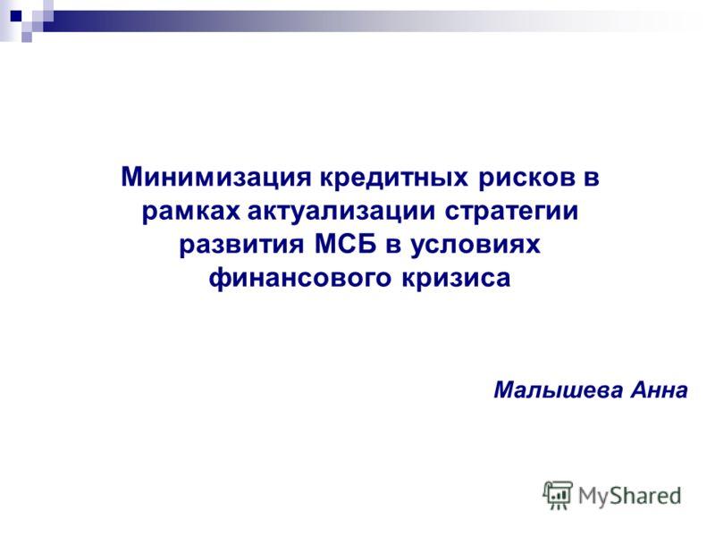 Малышева Анна Минимизация кредитных рисков в рамках актуализации стратегии развития МСБ в условиях финансового кризиса