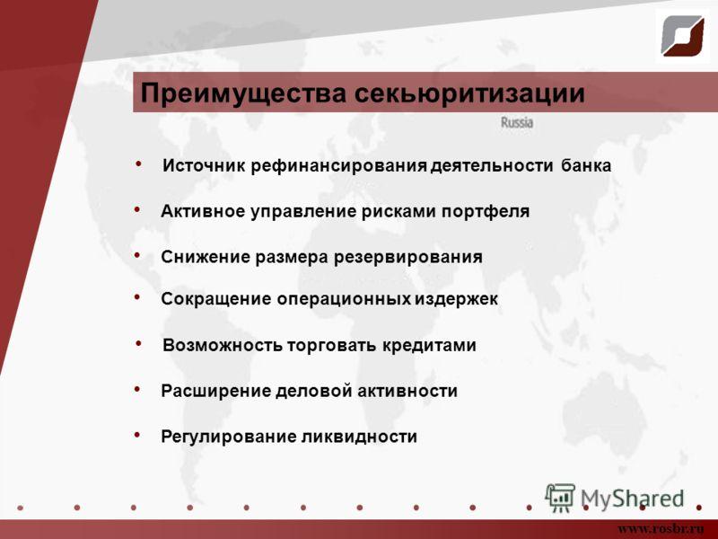 Преимущества секьюритизации www.rosbr.ru Источник рефинансирования деятельности банка Регулирование ликвидности Расширение деловой активности Снижение размера резервирования Активное управление рисками портфеля Сокращение операционных издержек Возмож