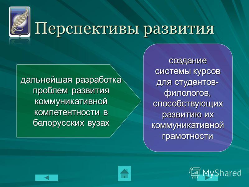 Перспективы развития дальнейшая разработка проблем развития коммуникативной компетентности в белорусских вузах создание системы курсов для студентов- филологов, способствующих развитию их коммуникативной грамотности