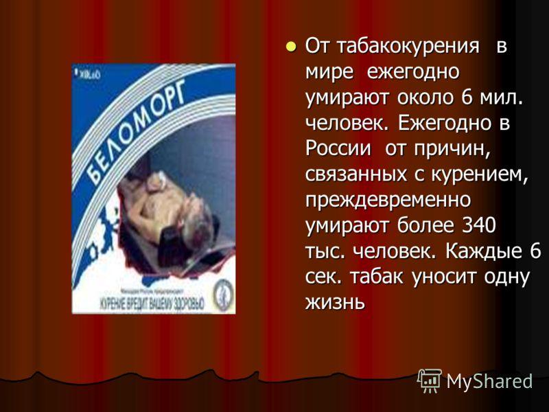 От табакокурения в мире ежегодно умирают около 6 мил. человек. Ежегодно в России от причин, связанных с курением, преждевременно умирают более 340 тыс. человек. Каждые 6 сек. табак уносит одну жизнь От табакокурения в мире ежегодно умирают около 6 ми
