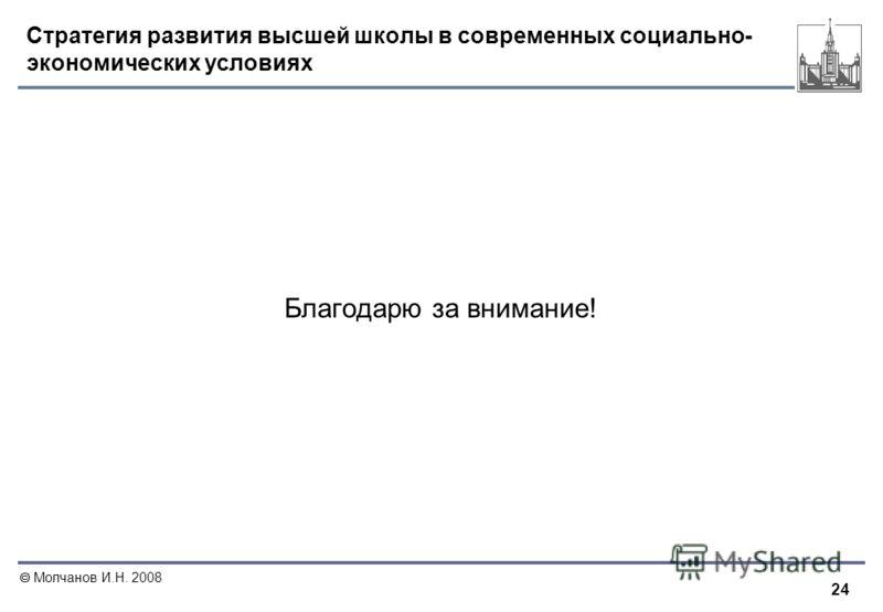 24 Молчанов И.Н. 2008 Стратегия развития высшей школы в современных социально- экономических условиях Благодарю за внимание!