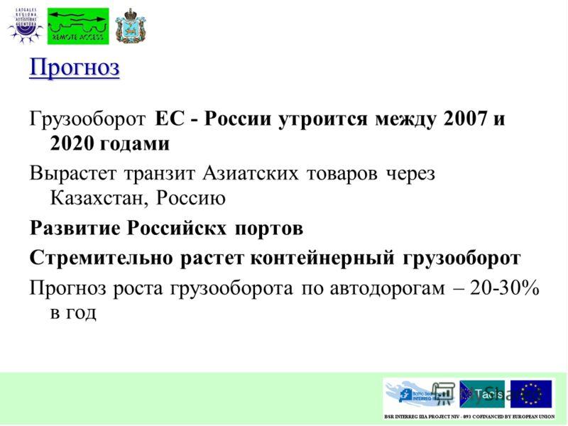 Прогноз Грузооборот ЕС - России утроится между 2007 и 2020 годами Вырастет транзит Азиатских товаров через Казахстан, Россию Развитие Российскх портов Стремительно растет контейнерный грузооборот Прогноз роста грузооборота по автодорогам – 20-30% в г