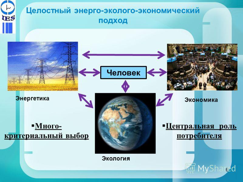 Целостный энерго-эколого-экономический подход Центральная роль потребителя Энергетика Экономика Человек Экология Много- критериальный выбор 6