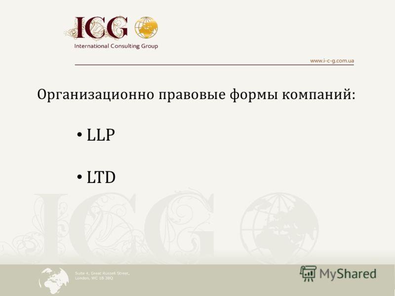 Организационно правовые формы компаний: LLP LTD