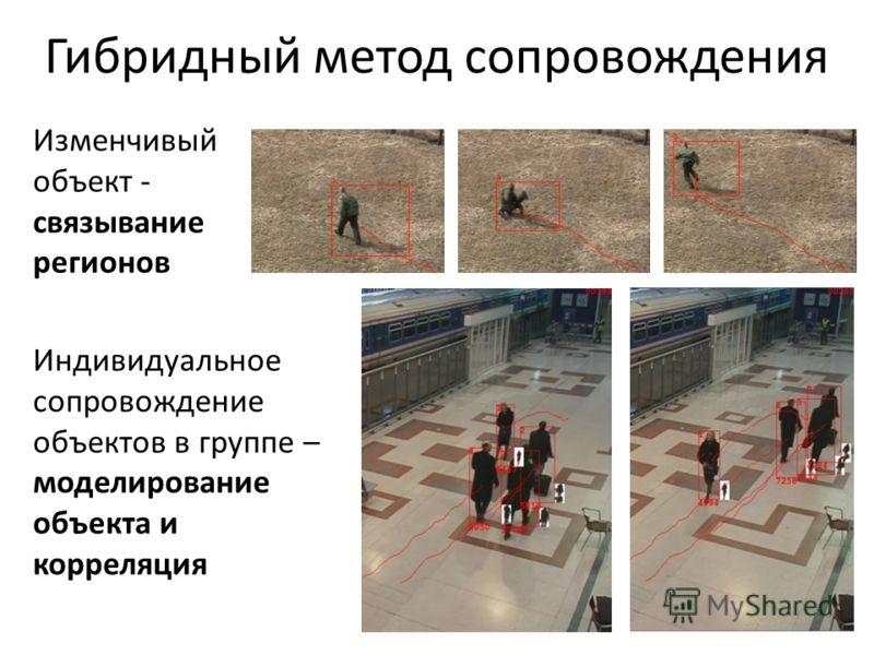 Гибридный метод сопровождения Изменчивый объект - связывание регионов Индивидуальное сопровождение объектов в группе – моделирование объекта и корреляция