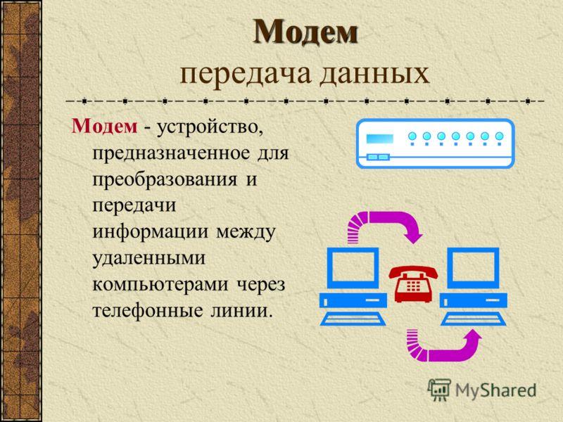 Модем Модем передача данных Модем - устройство, предназначенное для преобразования и передачи информации между удаленными компьютерами через телефонные линии.
