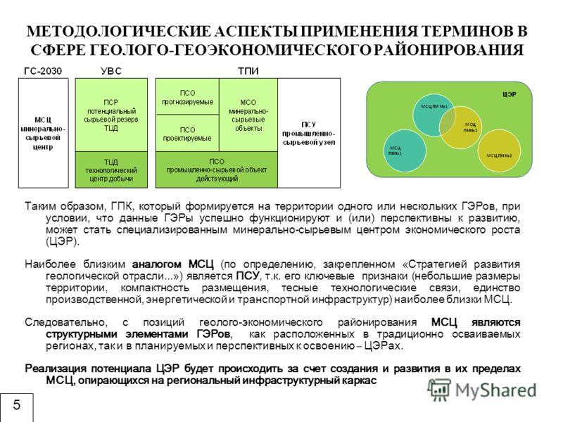 Таким образом, ГПК, который формируется на территории одного или нескольких ГЭРов, при условии, что данные ГЭРы успешно функционируют и (или) перспективны к развитию, может стать специализированным минерально-сырьевым центром экономического роста (ЦЭ
