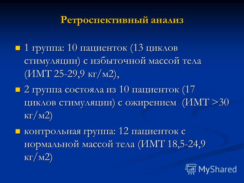 Ретроспективный анализ 1 группа: 10 пациенток (13 циклов стимуляции) с избыточной массой тела (ИМТ 25-29,9 кг/м2), 1 группа: 10 пациенток (13 циклов стимуляции) с избыточной массой тела (ИМТ 25-29,9 кг/м2), 2 группа состояла из 10 пациенток (17 цикло