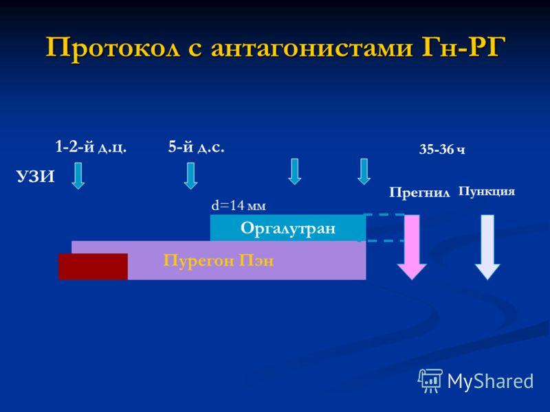 Протокол с антагонистами Гн-РГ Оргалутран Пурегон Пэн Прегнил УЗИ 5-й д.с. Пункция 35-36 ч d=14 мм 1-2-й д.ц.