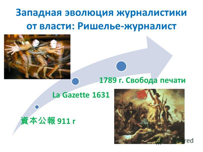 Западная эволюция журналистики от власти: Ришелье-журналист 911 г La Gazette 1631 1789 г. Свобода печати