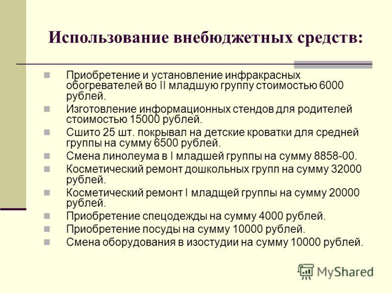 Использование внебюджетных средств: Приобретение и установление инфракрасных обогревателей во II младшую группу стоимостью 6000 рублей. Изготовление информационных стендов для родителей стоимостью 15000 рублей. Сшито 25 шт. покрывал на детские кроват