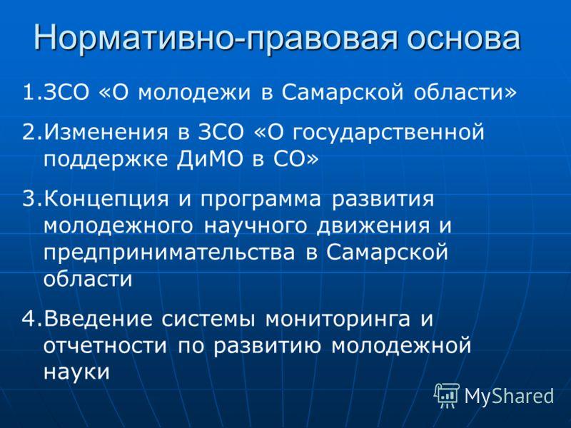 Нормативно-правовая основа 1.ЗСО «О молодежи в Самарской области» 2.Изменения в ЗСО «О государственной поддержке ДиМО в СО» 3.Концепция и программа развития молодежного научного движения и предпринимательства в Самарской области 4.Введение системы мо