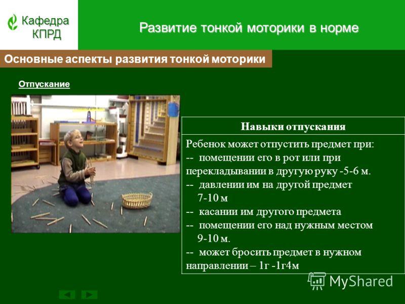 Отпускание КафедраКПРД Навыки отпускания Ребенок может отпустить предмет при: -- помещении его в рот или при перекладывании в другую руку -5-6 м. -- давлении им на другой предмет 7-10 м -- касании им другого предмета -- помещении его над нужным место