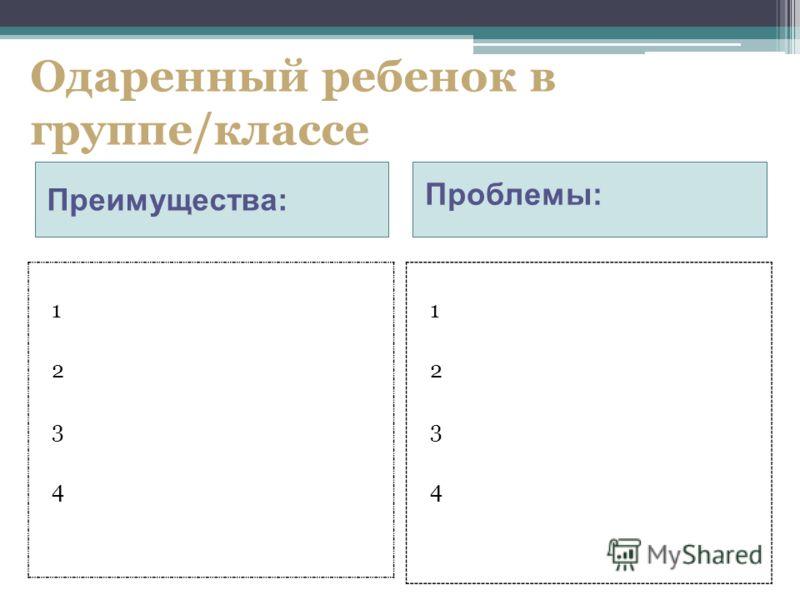 Одаренный ребенок в группе/классе Преимущества: Проблемы: 12341234 12341234