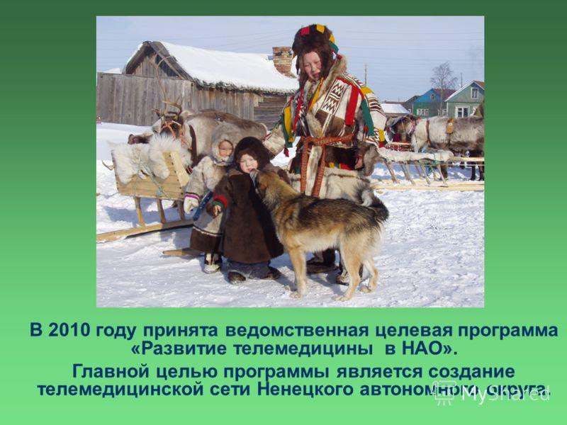 В 2010 году принята ведомственная целевая программа «Развитие телемедицины в НАО». Главной целью программы является создание телемедицинской сети Ненецкого автономного округа.