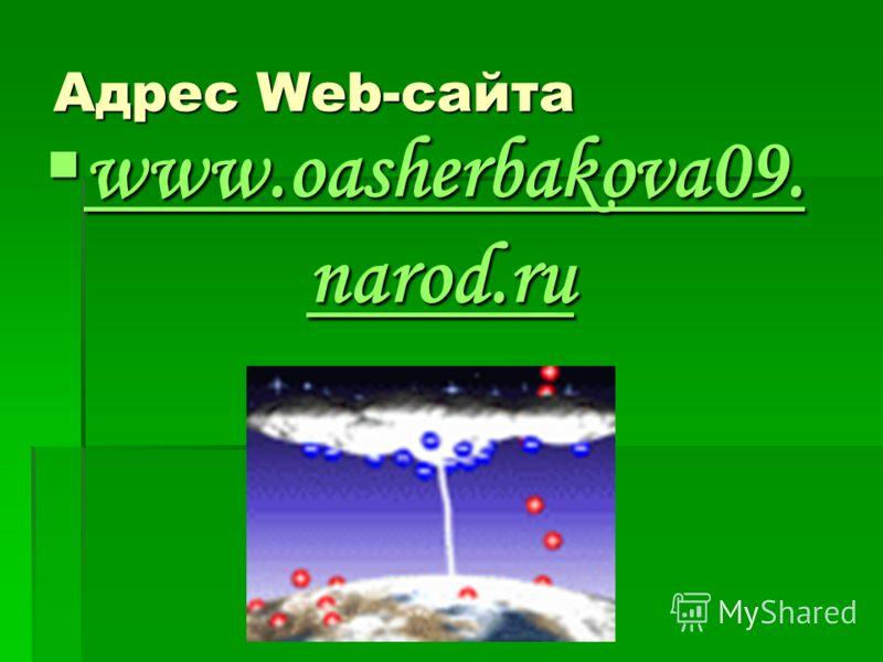 Адрес Web-сайта www.oasherbakova09. narod.ru www.oasherbakova09. narod.ru www.oasherbakova09. narod.ru www.oasherbakova09. narod.ru