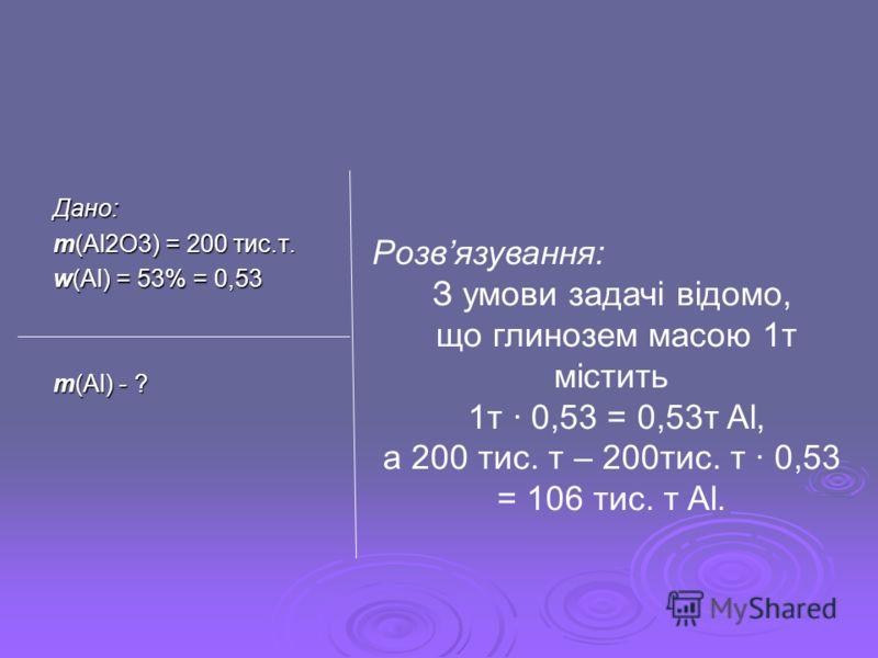 Дано: m(Al2O3) = 200 тис.т. w(Al) = 53% = 0,53 m(Al) - ? Розвязування: З умови задачі відомо, що глинозем масою 1т містить 1т · 0,53 = 0,53т Al, а 200 тис. т – 200тис. т · 0,53 = 106 тис. т Al.