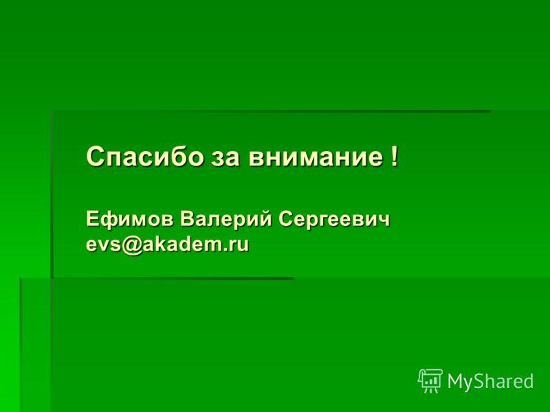 Спасибо за внимание ! Ефимов Валерий Сергеевич evs@akadem.ru