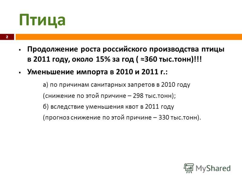 Птица Продолжение роста российского производства птицы в 2011 году, около 15% за год ( 360 тыс. тонн )!!! Уменьшение импорта в 2010 и 2011 г.: а ) по причинам санитарных запретов в 2010 году ( снижение по этой причине – 298 тыс. тонн ); б ) вследстви