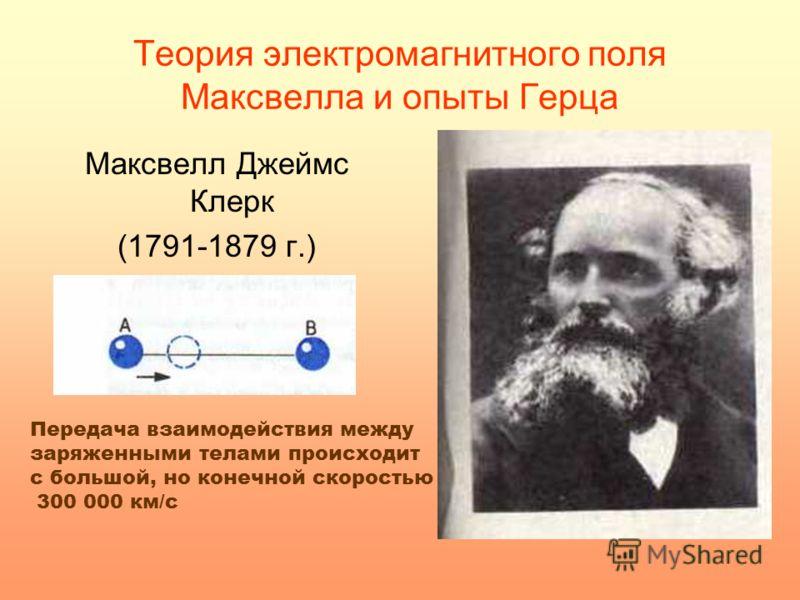Теория электромагнитного поля Максвелла и опыты Герца Максвелл Джеймс Клерк (1791-1879 г.) Передача взаимодействия между заряженными телами происходит с большой, но конечной скоростью 300 000 км/с