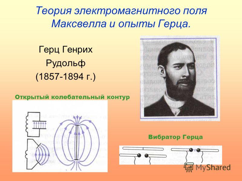 Теория электромагнитного поля Максвелла и опыты Герца. Герц Генрих Рудольф (1857-1894 г.) Открытый колебательный контур Вибратор Герца