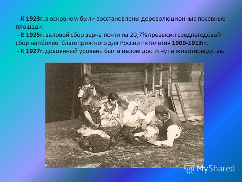 - К 1923г. в основном были восстановлены дореволюционные посевные площади. - В 1925г. валовой сбор зерна почти на 20,7% превысил среднегодовой сбор наиболее благоприятного для России пятилетия 1909-1913гг. - К 1927г. довоенный уровень был в целом дос