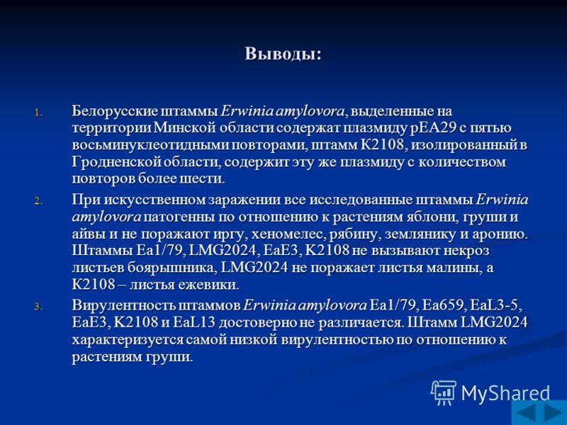 Выводы: 1. Белорусские штаммы Erwinia amylovora, выделенные на территории Минской области содержат плазмиду рЕА29 с пятью восьминуклеотидными повторами, штамм К2108, изолированный в Гродненской области, содержит эту же плазмиду с количеством повторов