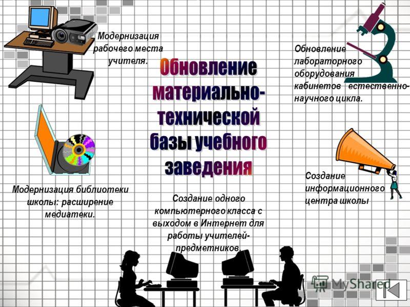 Создание одного компьютерного класса с выходом в Интернет для работы учителей- предметников. Модернизация рабочего места учителя. Обновление лабораторного оборудования кабинетов естественно- научного цикла. Модернизация библиотеки школы: расширение м