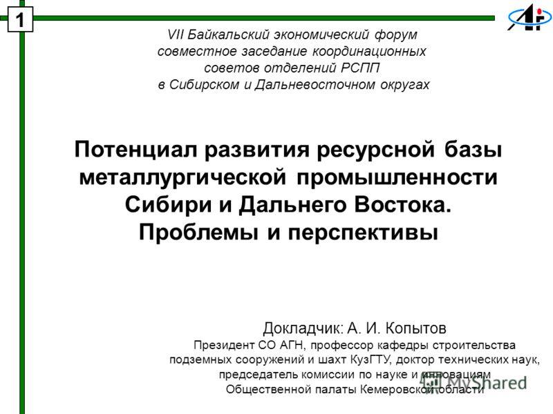 VII Байкальский экономический форум совместное заседание координационных советов отделений РСПП в Сибирском и Дальневосточном округах Потенциал развития ресурсной базы металлургической промышленности Сибири и Дальнего Востока. Проблемы и перспективы