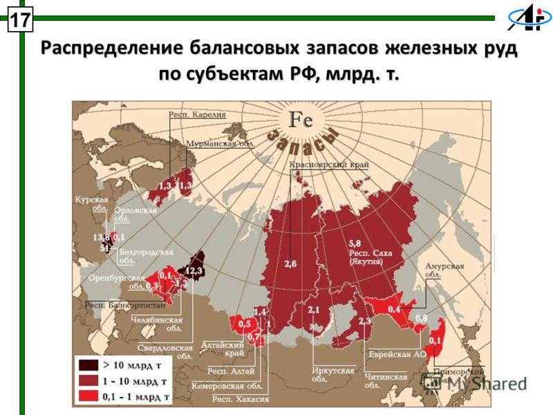 17 Распределение балансовых запасов железных руд по субъектам РФ, млрд. т.