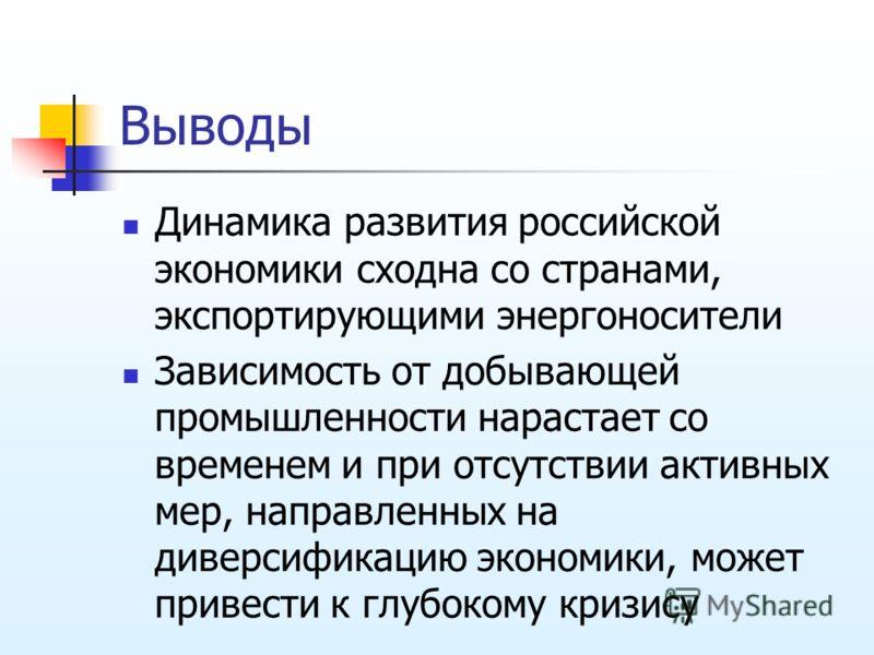 Выводы Динамика развития российской экономики сходна со странами, экспортирующими энергоносители Зависимость от добывающей промышленности нарастает со временем и при отсутствии активных мер, направленных на диверсификацию экономики, может привести к