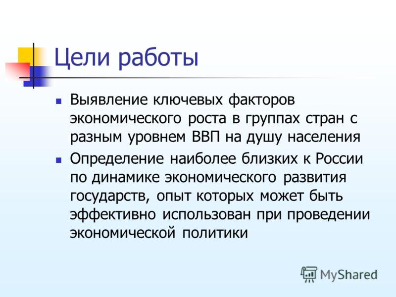 Цели работы Выявление ключевых факторов экономического роста в группах стран с разным уровнем ВВП на душу населения Определение наиболее близких к России по динамике экономического развития государств, опыт которых может быть эффективно использован п